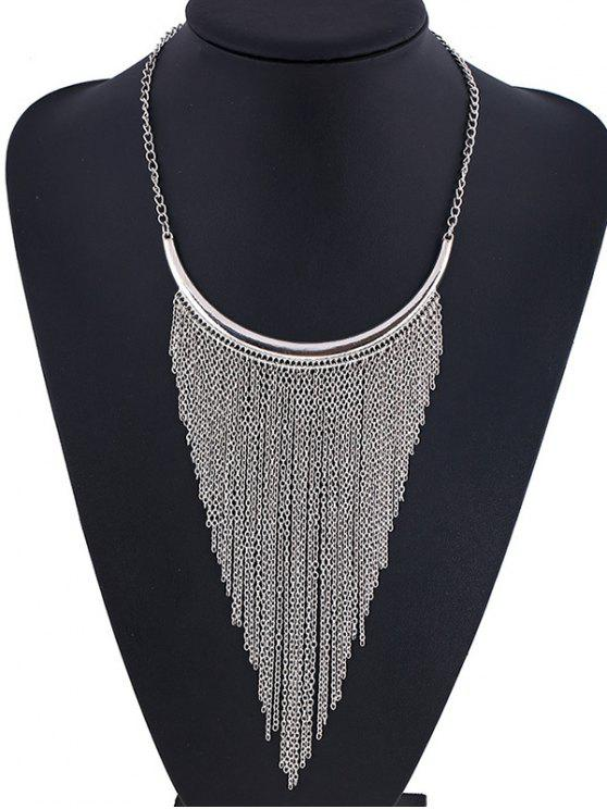 online Long Chain Fringe Necklace - SILVER