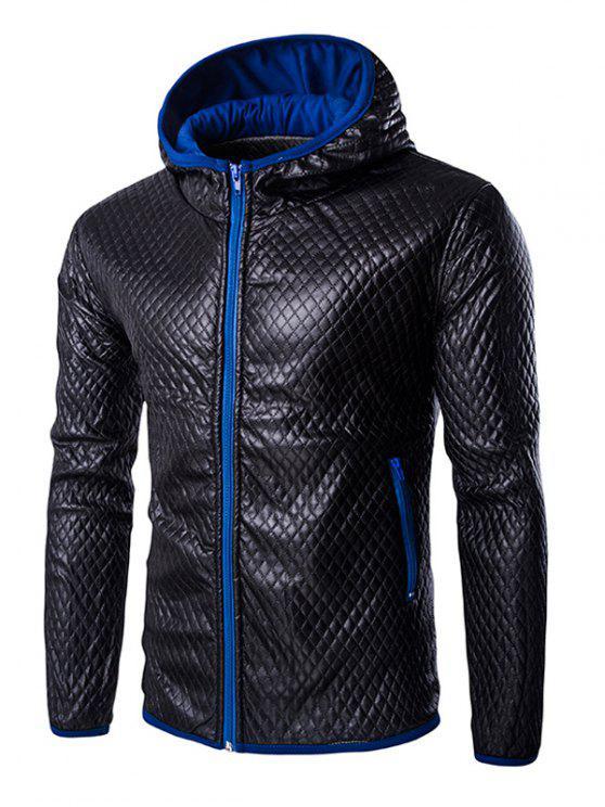 معطف جلد للرجال ريترو ستايل اللون بلوك مقنعين خياطة اللحف - أزرق L