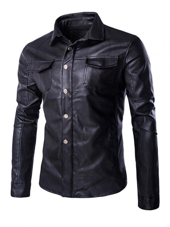 womens Retro Style Turn-Down Collar Flap-Pocket Design Leather Coat For Men - BLACK XL