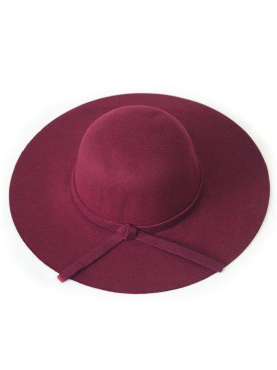 Solide Couleur Felt Floppy Hat - Rouge vineux
