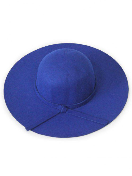 affordable Solid Color Felt Floppy Hat - BLUE