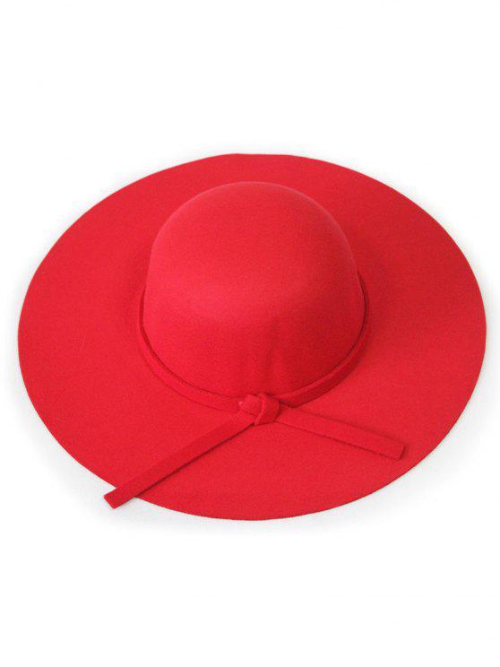 buy Solid Color Felt Floppy Hat - RED
