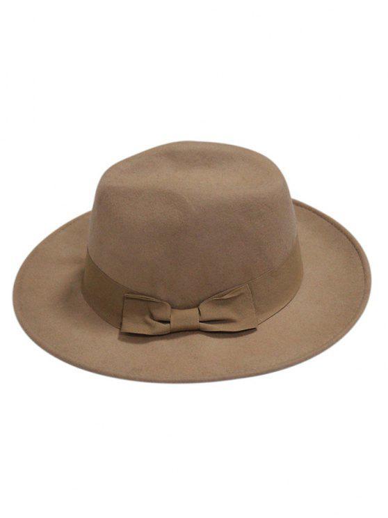 hot Bowknot Felt Fedora Hat - KHAKI