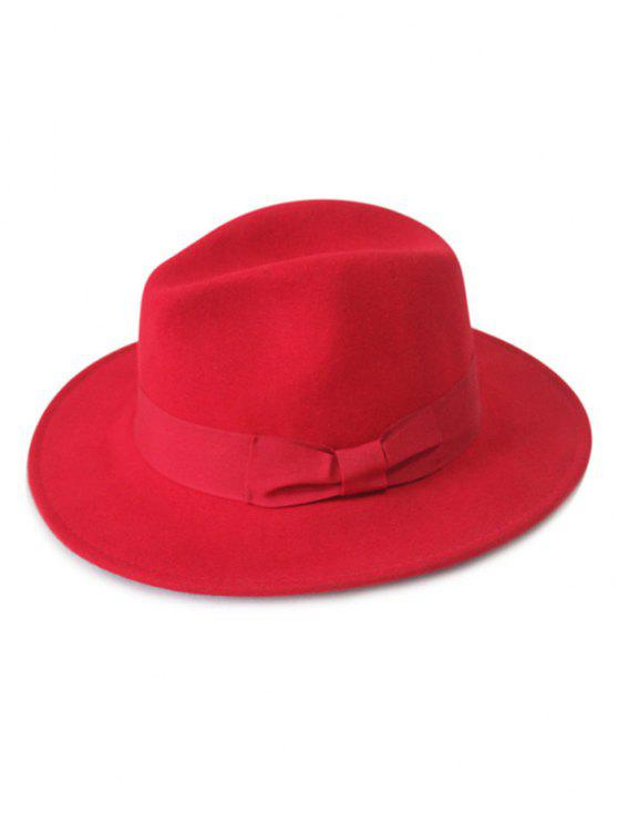 outfits Bowknot Felt Fedora Hat - RED