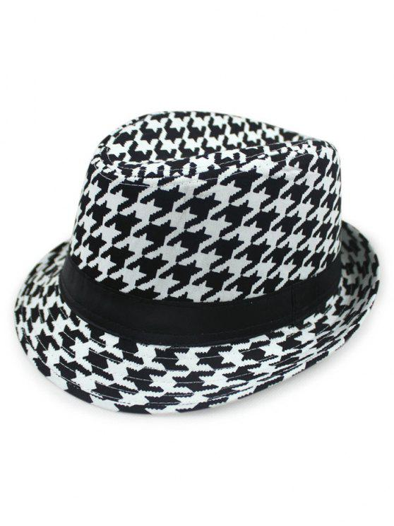 6b15241b9eb34 28% OFF  2019 Houndstooth Fedora Hat In BLACK