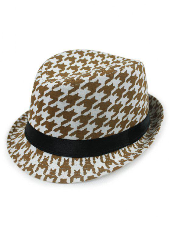 latest Houndstooth Fedora Hat - COFFEE