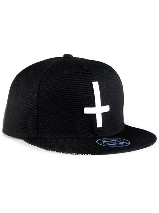 ladies Cross Embroidery Snapback Hat - BLACK
