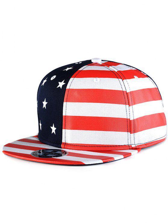 lady US Flag Snapback Hat - RED