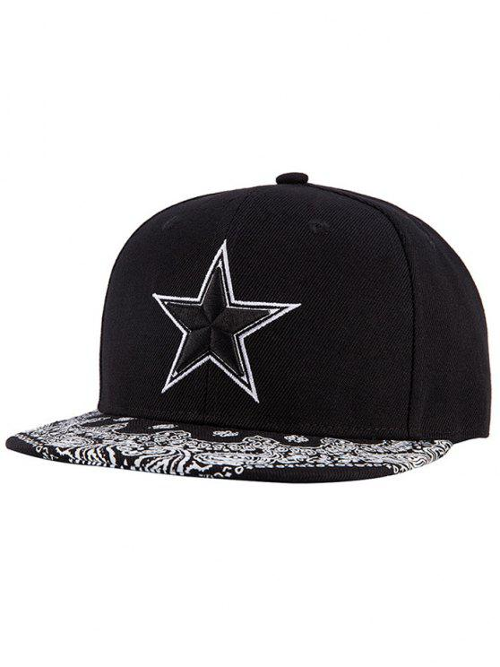 new Pentagram Embroidery Snapback Hat - BLACK