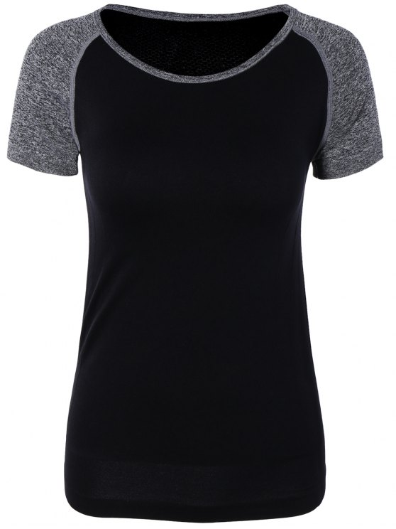 ladies Color Block Sport Running Gym T-Shirt - BLACK M