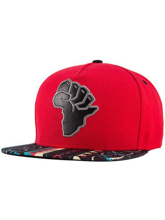 hot African Map Snapback Hat - RED