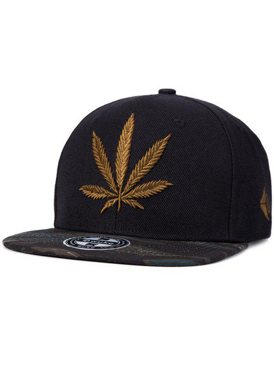 outfit Hemp Leaf Embroidery Snapback Hat - BLACK
