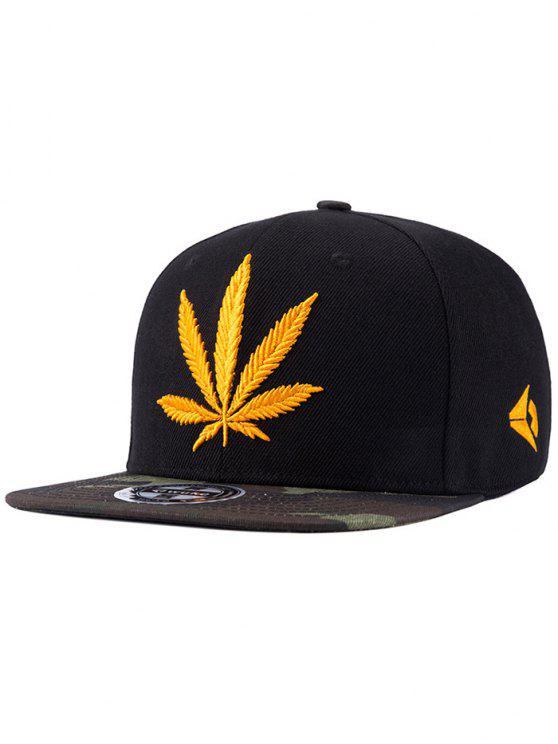 El cáñamo de la hoja bordado del sombrero del Snapback - Negro