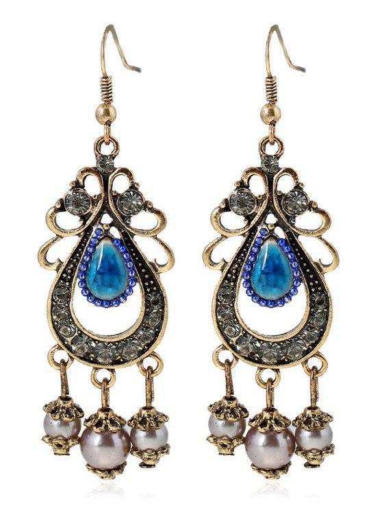 Gold and Copper Earrings Chandelier Earrings Copper Pearl Earrings Pearl Jewelry Crystal Earrings Pearl Chandelier Earrings