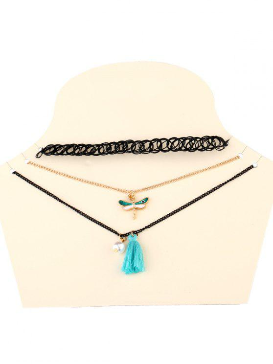 trendy Dragonfly Tassel Necklaces - BLACK