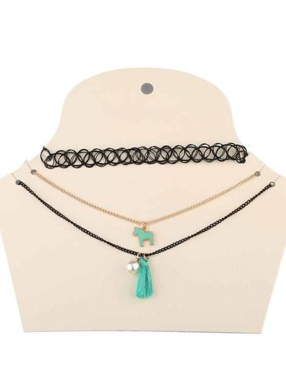 chic Faux Pearl Tassel Pony Necklaces - BLACK