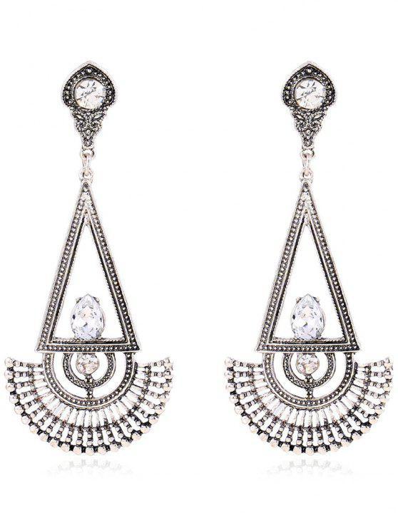 fashion Rhinestone Fan Dangle Earrings - SILVER