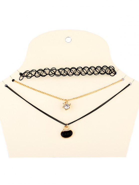 buy Rhinestone Necklaces - BLACK