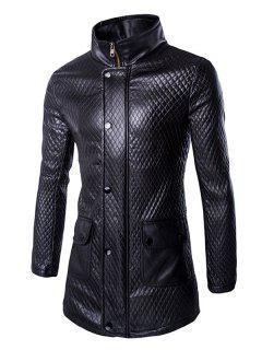 Retro Style Pockets Design Funnel Collar Leather Coat For Men - Black M