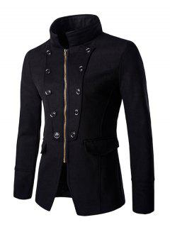 Botones Diseño Elegante Del Collar Del Soporte De La Cremallera Apertura Abrigo Para Los Hombres - Negro M