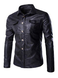 Estilo Retro Vuelta-Abajo Diseño Escudo De Cuero Collar-bolsillo De La Solapa Para Los Hombres - Negro Xl