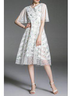 Polka Dot Mesh Insert Dress - White M