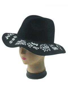 Letters Pattern Felt Floppy Hat - Black