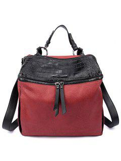 Crocodile Print Color Block Zips Satchel - Wine Red