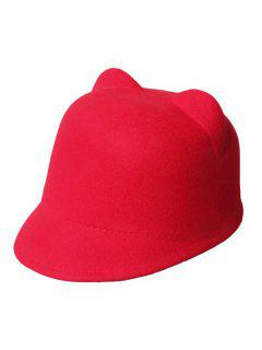 Solid Color Cat Ear Hat - Red