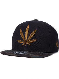 Hemp Leaf Embroidery Snapback Hat - Black