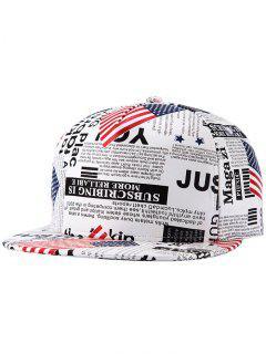US Flag Newspaper Snapback Hat - White