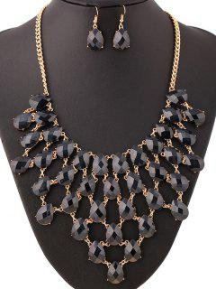 Teardrop Chandelier Necklace And Earrings - Black