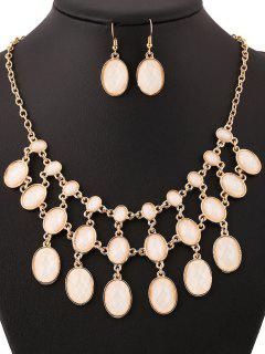 Oval Chandelier Necklace And Earrings - Golden