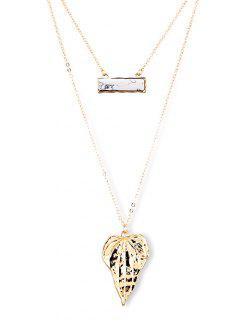 Alloy Leaf Sweater Chains - Golden