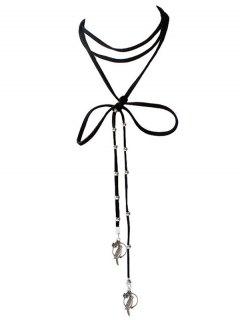 Bird Floral Beads Necklace - Black