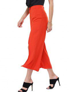 Double Split Palazzo Pants - Red S