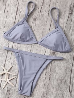 Solide Couleur Spaghetti Strap Taille Basse Bikini - Gris M