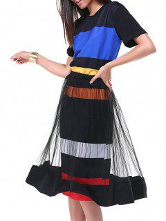 Striped Tee Dress And Tulle Skirt - Black