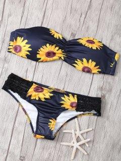 Strapless Floral Print Crochet Splicing Bikini Set - Black S