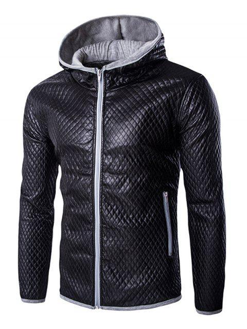 Style rétro Color Block Quilting capuche Manteau de cuir pour les hommes - gris 2XL Mobile