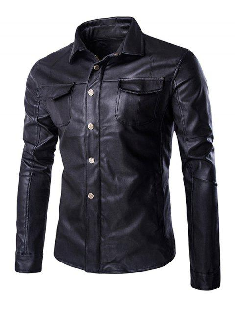 womens Retro Style Turn-Down Collar Flap-Pocket Design Leather Coat For Men - BLACK XL Mobile