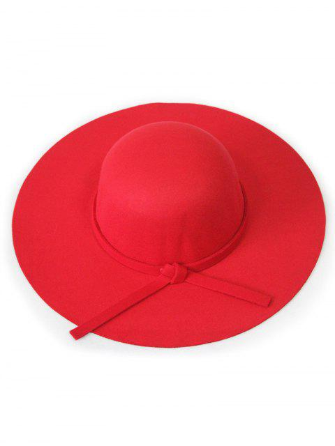 Solide Couleur Felt Floppy Hat - Rouge  Mobile