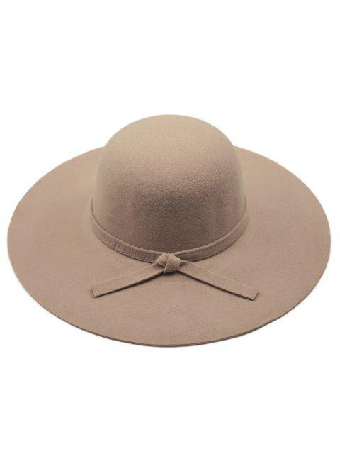 womens Solid Color Felt Floppy Hat - DARK KHAKI  Mobile