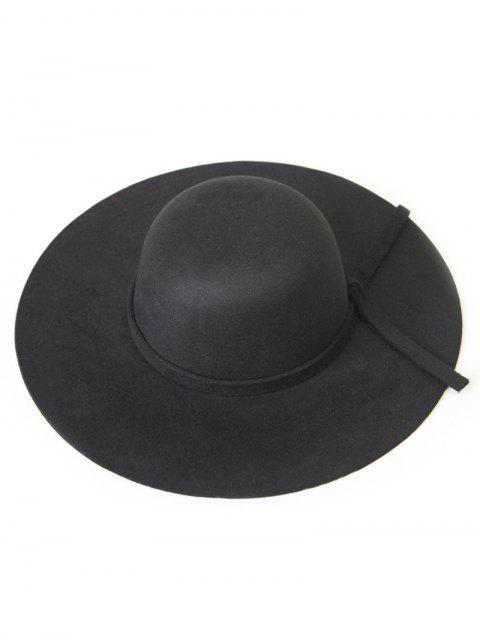Solide Couleur Felt Floppy Hat - Noir  Mobile