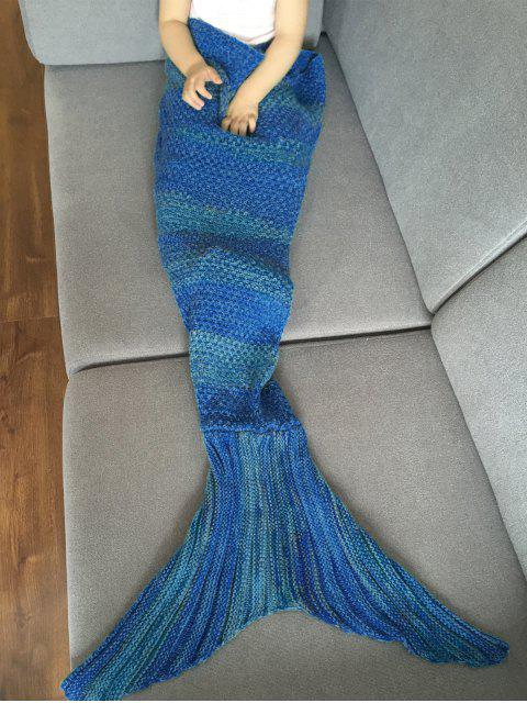 new Stripe Knitted Mermaid Tail Blanket - DEEP BLUE  Mobile