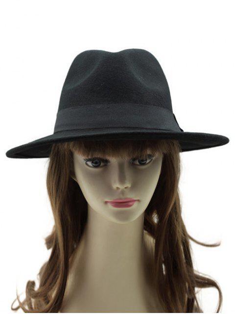 Chapeau à style vontage avec décoration d'une ceinture - Noir  Mobile