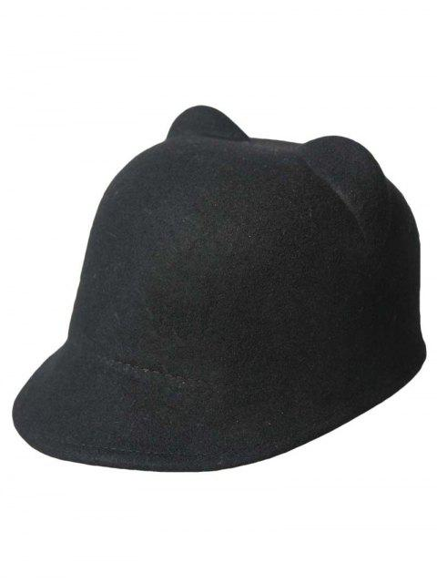 Solide Couleur Cat Ear Hat - Noir  Mobile