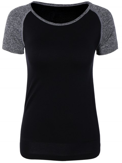 ladies Color Block Sport Running Gym T-Shirt -   Mobile