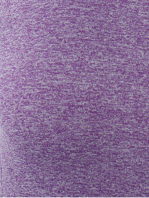 best Color Block Sport Running Gym T-Shirt - PURPLE L Mobile