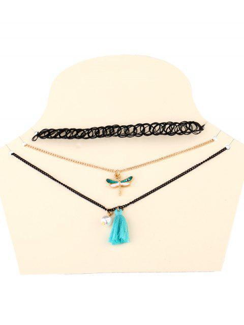 trendy Dragonfly Tassel Necklaces - BLACK  Mobile